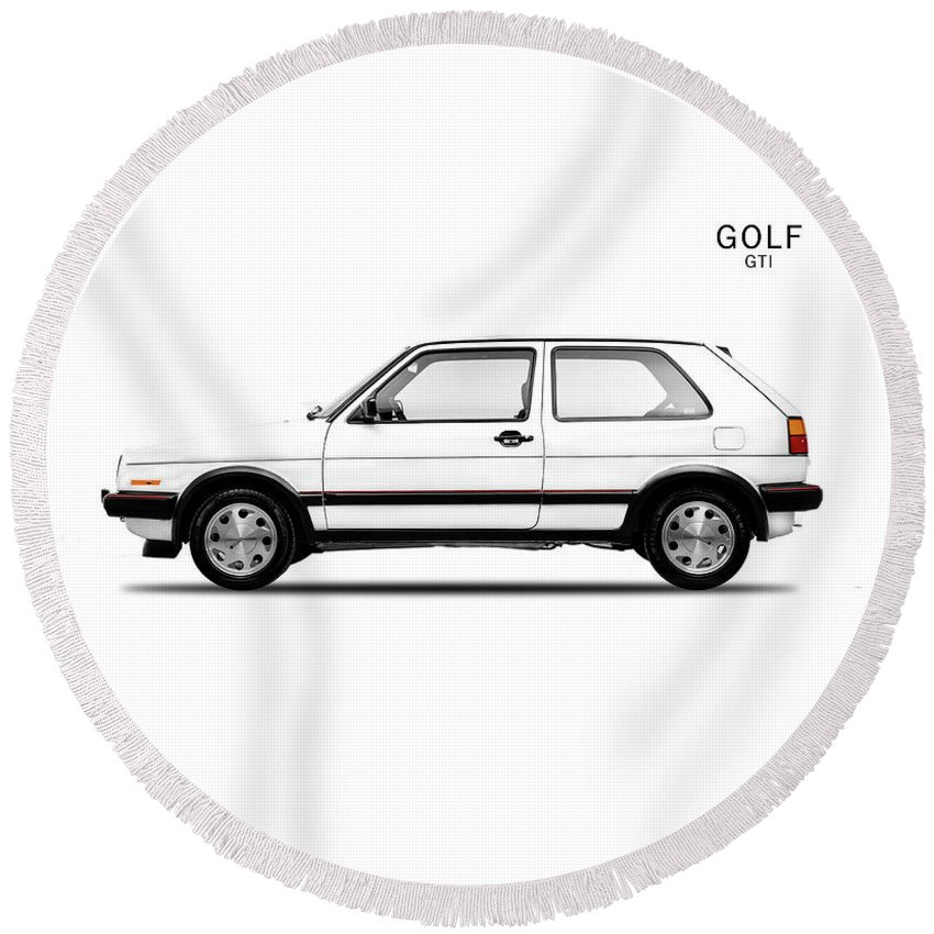 Vw Golf Round Beach Towel featuring the photograph Vw Golf Gti by Mark Rogan