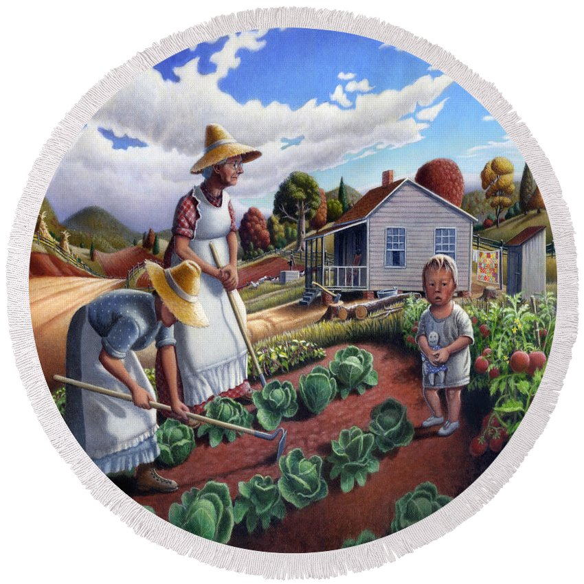 Farm Family Round Beach Towel featuring the painting Family Vegetable Garden Farm Landscape - Gardening - Childhood Memories - Flashback - Homestead by Walt Curlee