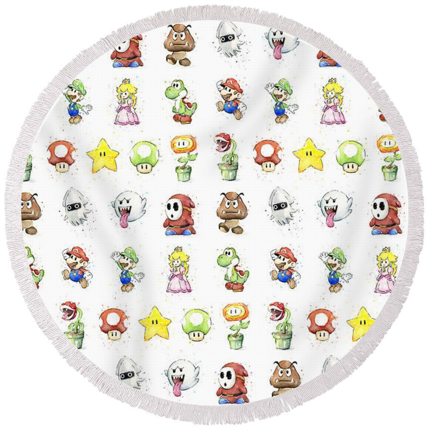 Mario Round Beach Towel featuring the painting Mario Characters in Watercolor by Olga Shvartsur