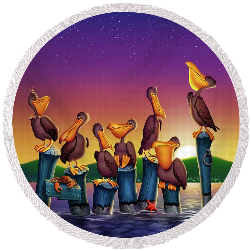 Pelicans On Poles Round Beach Towel featuring the painting Pelican Sunset Whimsical Cartoon Tropical Birds Seascape Print Blue Orange Purple Yellow by Walt Curlee