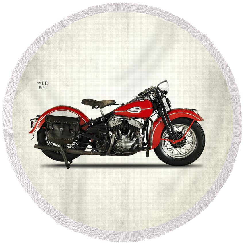 Harley Davidson Round Beach Towel featuring the photograph Harley-davidson Wld 1941 by Mark Rogan