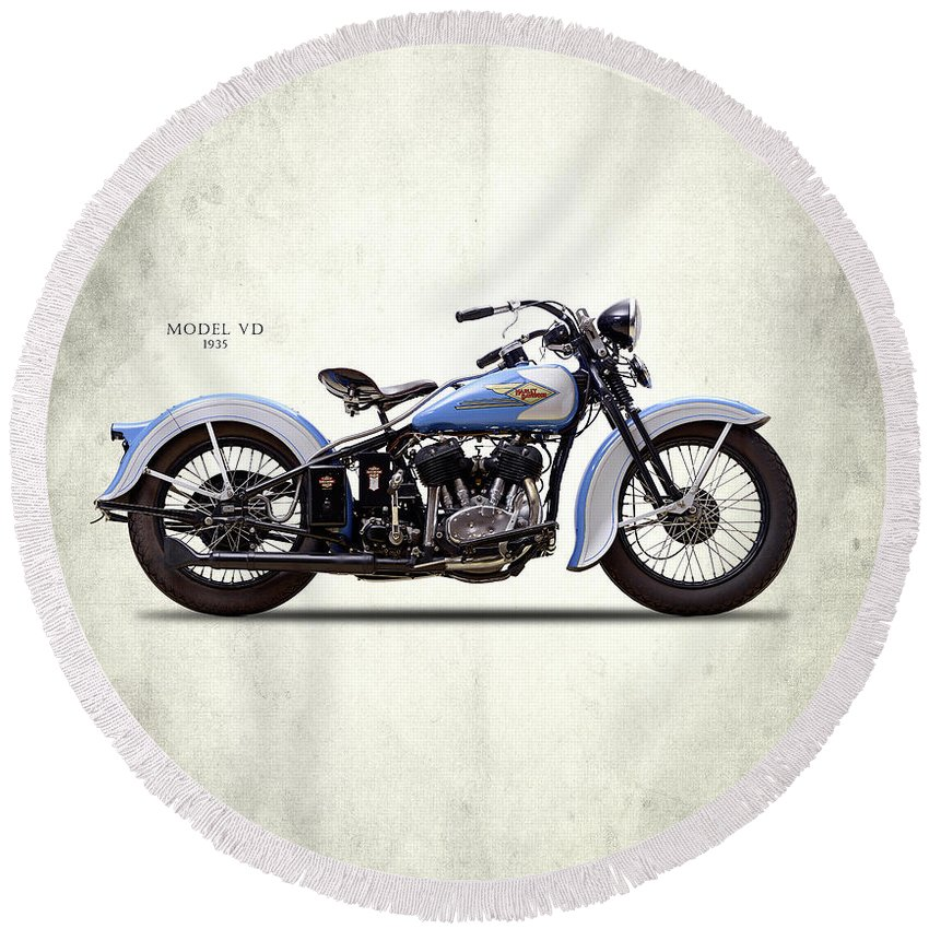 Harley Davidson Round Beach Towel featuring the photograph Harley Model Vd 1935 by Mark Rogan