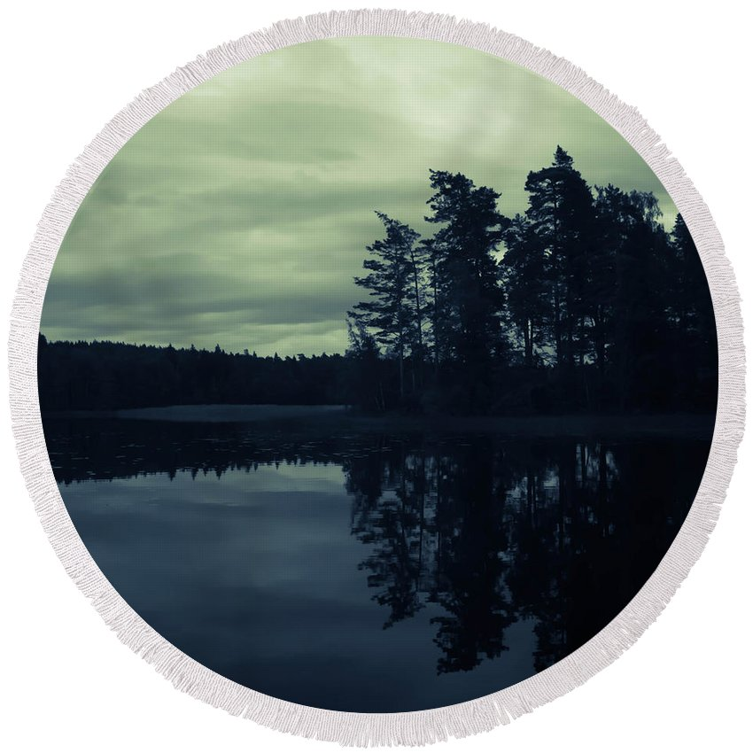 Lake Round Beach Towel featuring the photograph Lake By Night by Nicklas Gustafsson