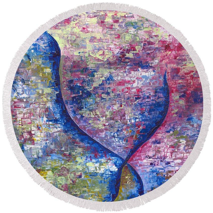 Vita Round Beach Towel featuring the painting Vita by Pierina Nunez