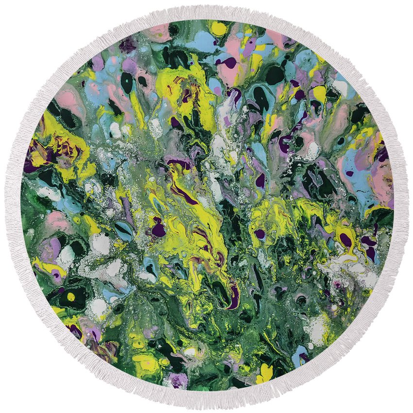The Feeling Of Spring Round Beach Towel featuring the painting The Feeling Of Spring by Olga Hamilton