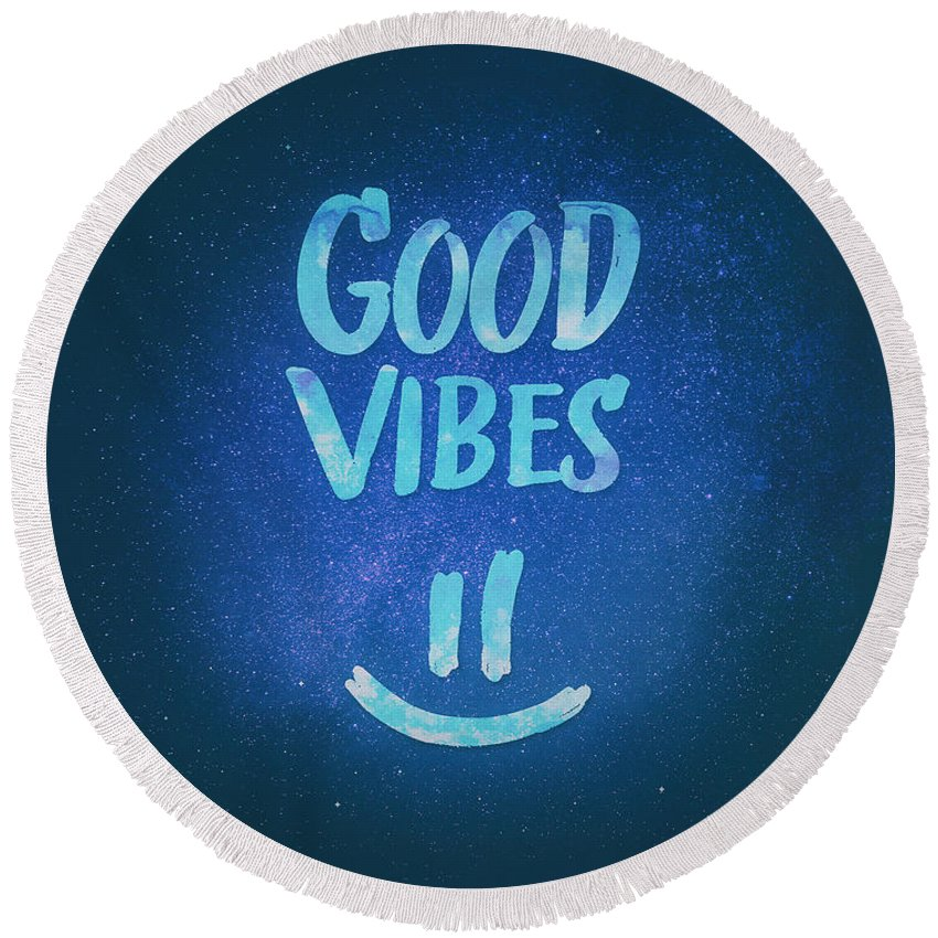 Good Vibes Round Beach Towel featuring the digital art Good Vibes Funny Smiley Statement Happy Face Blue Stars Edit by Philipp Rietz