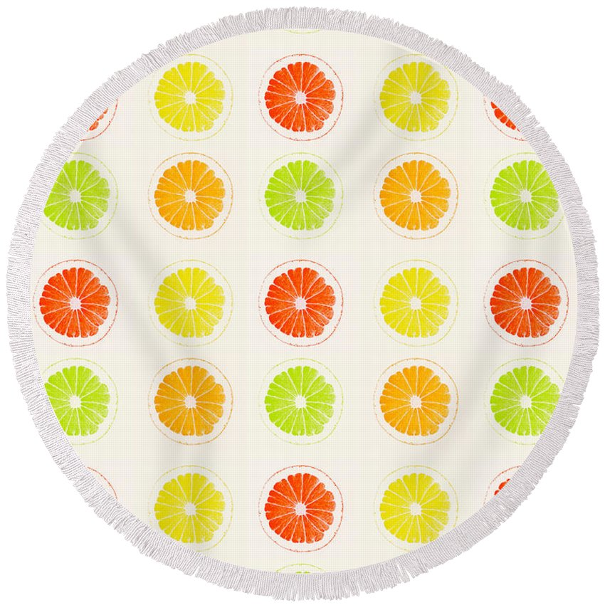 Lime Round Beach Towel featuring the painting Juicy Citrus by Little Bunny Sunshine