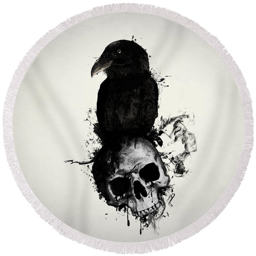 Raven Round Beach Towel featuring the mixed media Raven And Skull by Nicklas Gustafsson