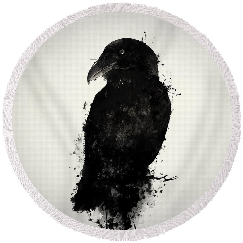 Raven Round Beach Towel featuring the mixed media The Raven by Nicklas Gustafsson