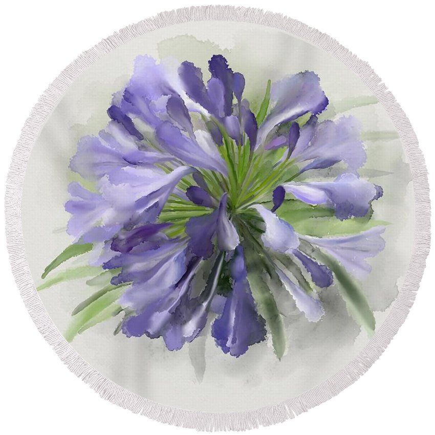 Blue Round Beach Towel featuring the painting Blue Purple Flowers by Ivana Westin