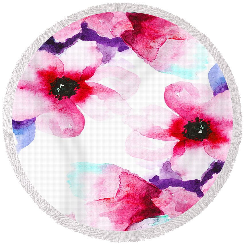 Painting Round Beach Towel featuring the pastel Flowers 04 by Aloke Creative Store