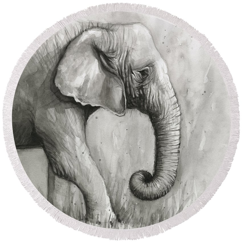 Elephant Round Beach Towel featuring the painting Elephant Watercolor by Olga Shvartsur