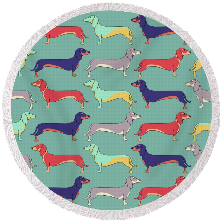 Dachshunds Round Beach Towel featuring the digital art Dachshunds by Kelly Jade King