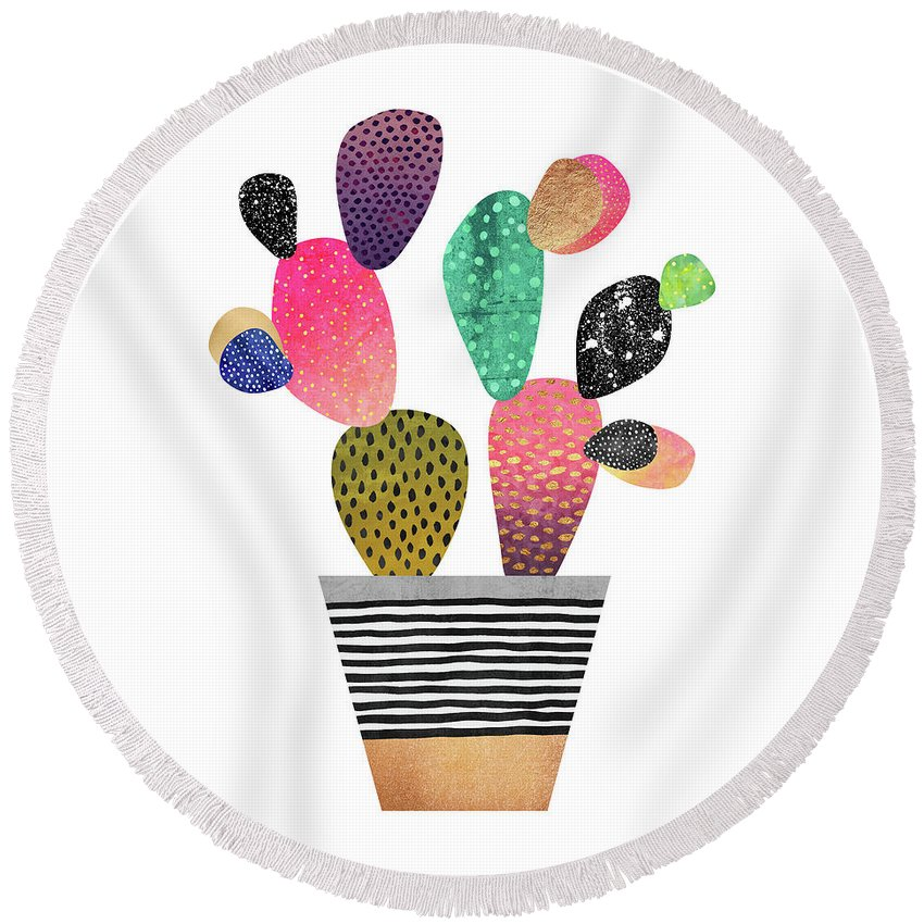 Digital Round Beach Towel featuring the digital art Happy Cactus by Elisabeth Fredriksson