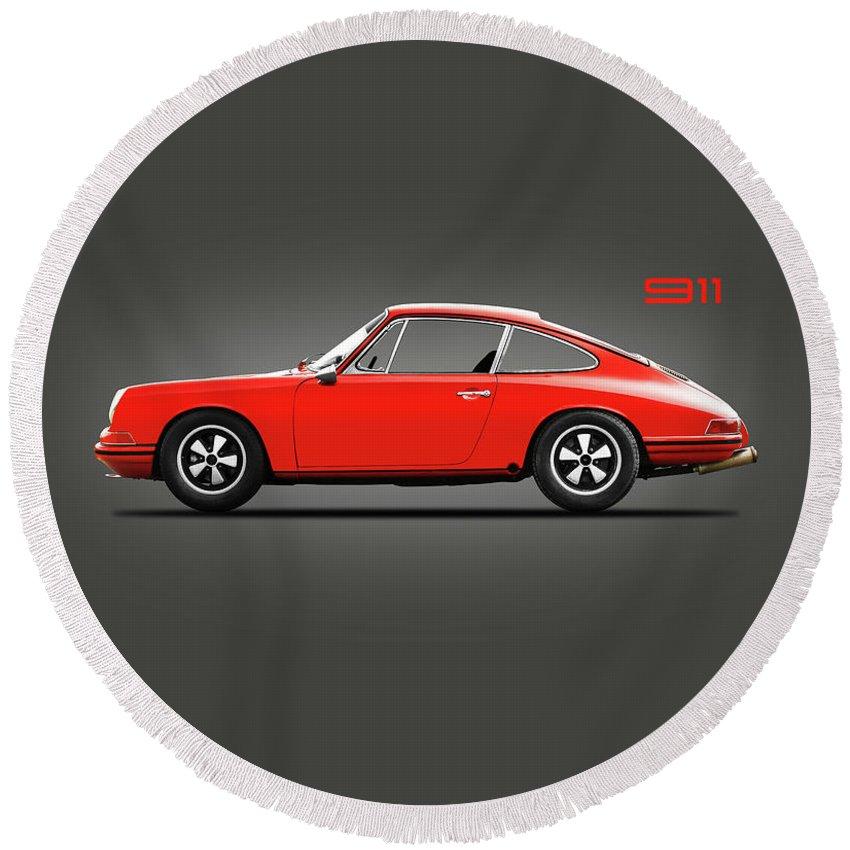 Porsche 911 Round Beach Towel featuring the photograph The 1965 Porsche 911 by Mark Rogan