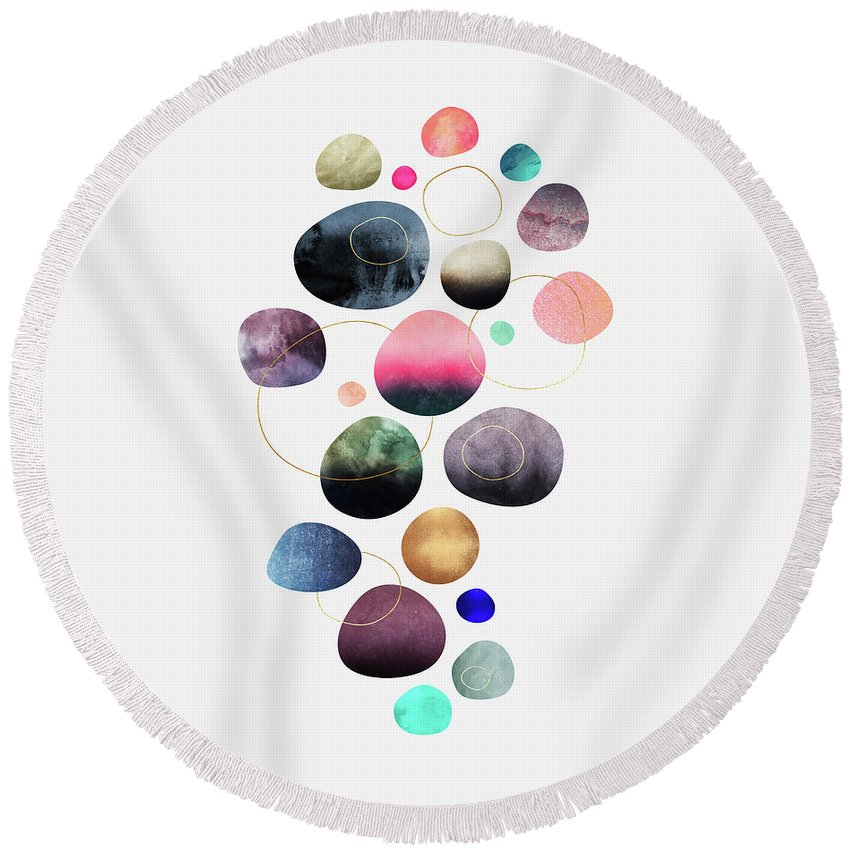 Graphic Round Beach Towel featuring the digital art My Favorite Pebbles by Elisabeth Fredriksson