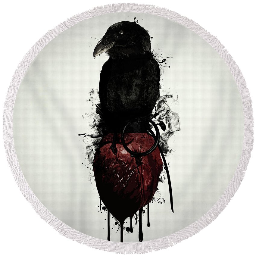 Raven Round Beach Towel featuring the digital art Raven and Heart Grenade by Nicklas Gustafsson