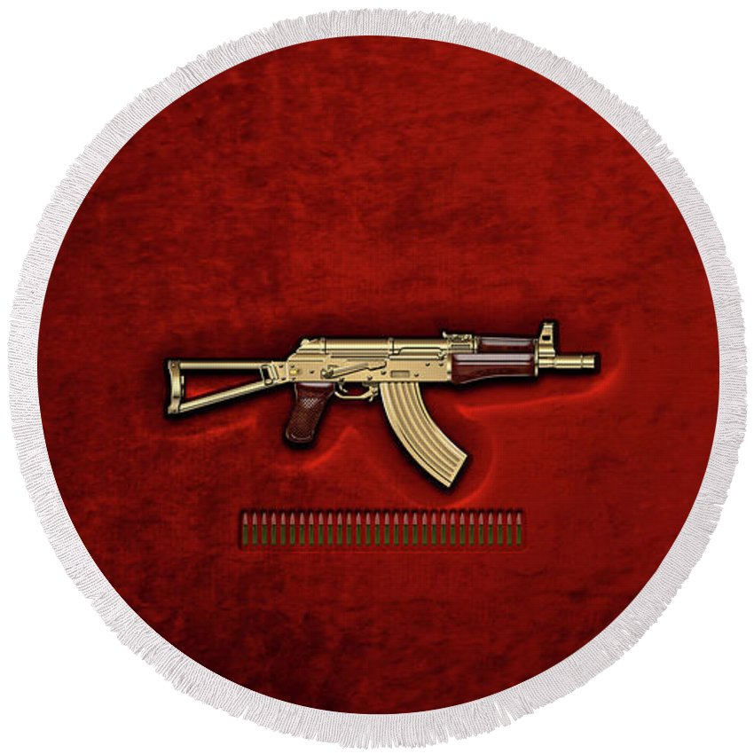 'the Armory' Collection By Serge Averbukh Round Beach Towel featuring the photograph Gold A K S-74 U Assault Rifle With 5.45x39 Rounds Over Red Velvet  by Serge Averbukh