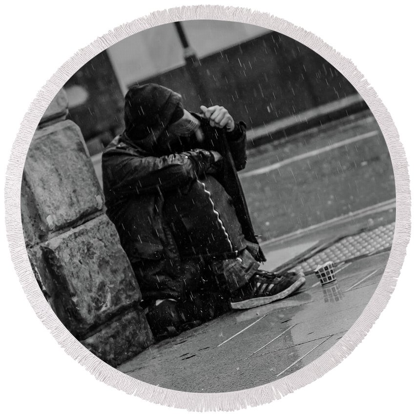 Rain Round Beach Towel featuring the photograph Rainy Days by Lee Pirie