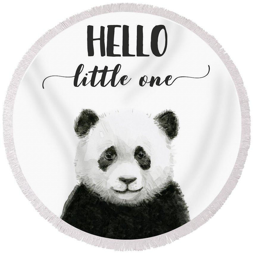 Baby Panda Round Beach Towel featuring the painting Baby Panda Hello Little One Nursery Decor by Olga Shvartsur