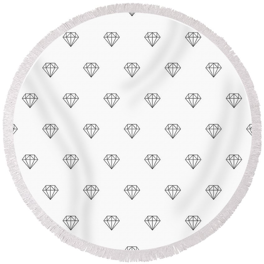 Background Round Beach Towel featuring the drawing Pattern With Diamonds by Alina Krysko
