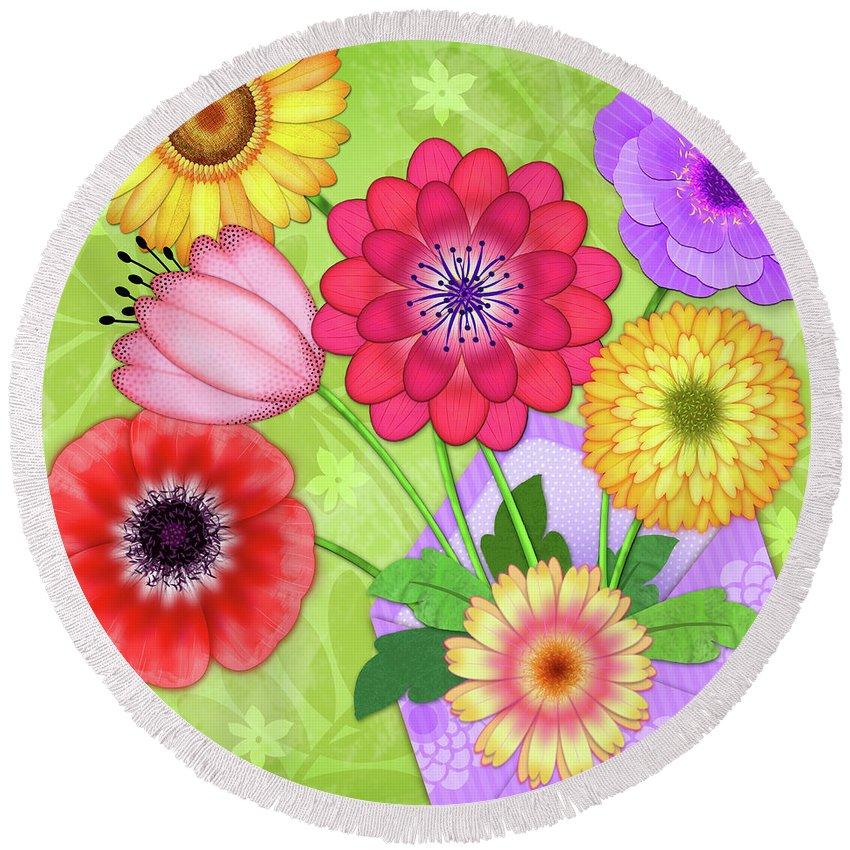 Flowers Round Beach Towel featuring the digital art Good News by Valerie Drake Lesiak