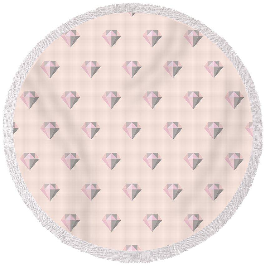 Diamond Round Beach Towel featuring the painting Pattern With Diamonds by Alina Krysko