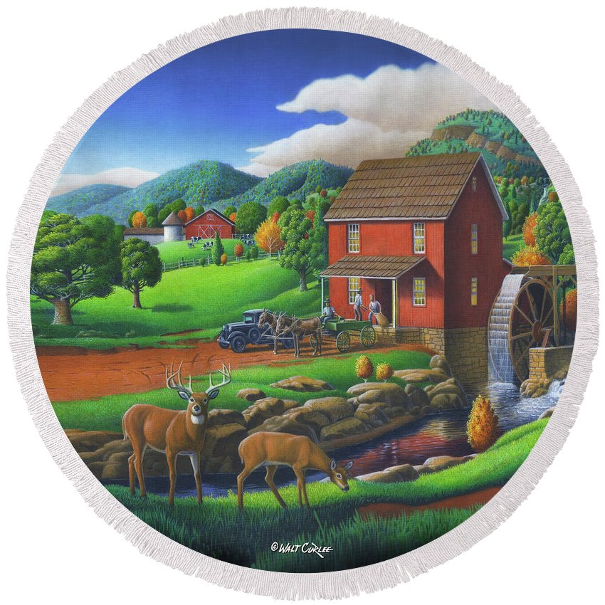 Old Red Appalachian Grist Mill Landscape Oil Painting Round Beach Towel featuring the painting Old Red Appalachian Grist Mill Rural Landscape - Square Format by Walt Curlee
