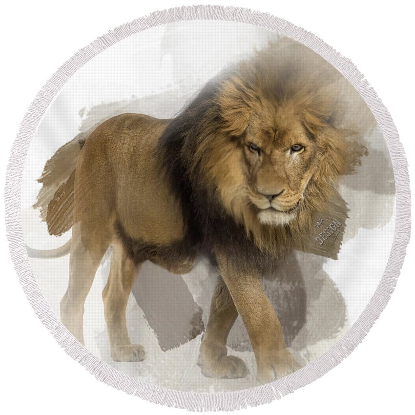 Imia Design Round Beach Towel featuring the digital art Lion Lion Lion by Maria Astedt