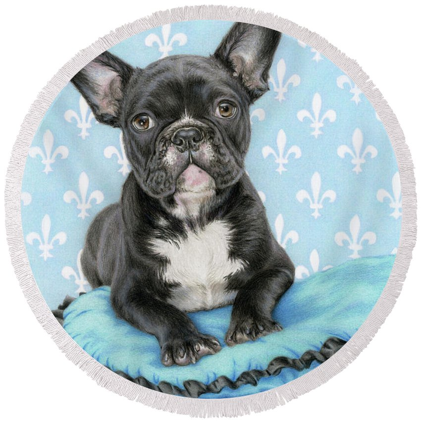 French Bulldog Round Beach Towel featuring the painting Draw Me Like One Of Your French Girls- Square Format by Sarah Batalka