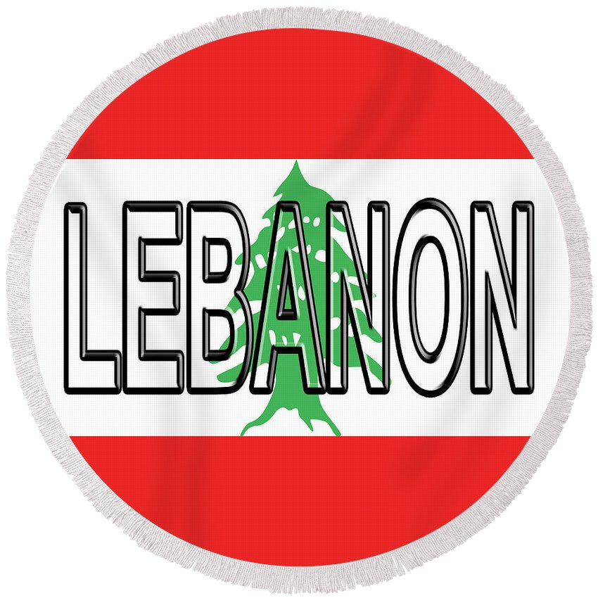 Arab Round Beach Towel featuring the digital art Flag Of Lebanon Word by Roy Pedersen