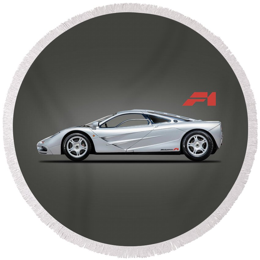 Mclaren F1 Round Beach Towel featuring the photograph The F1 Supercar by Mark Rogan