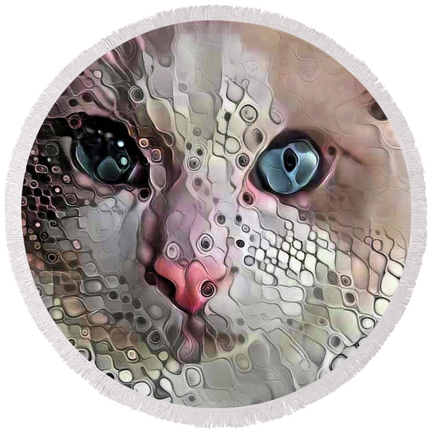 Animals Round Beach Towel featuring the digital art Look Into My Eyes by Bunny Clarke