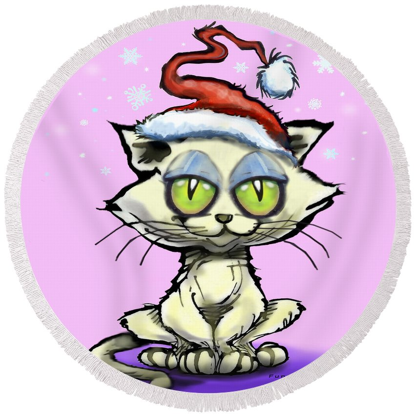 Kitten Round Beach Towel featuring the digital art Kitten In Christmas Hat by Kevin Middleton
