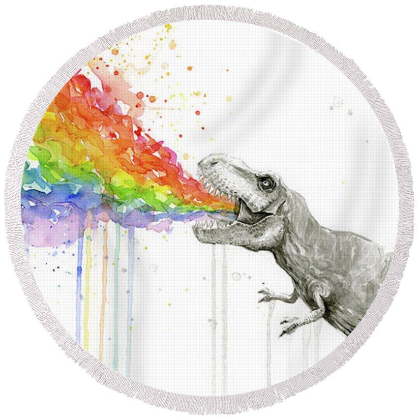 T-rex Round Beach Towel featuring the painting T-rex Tastes The Rainbow by Olga Shvartsur
