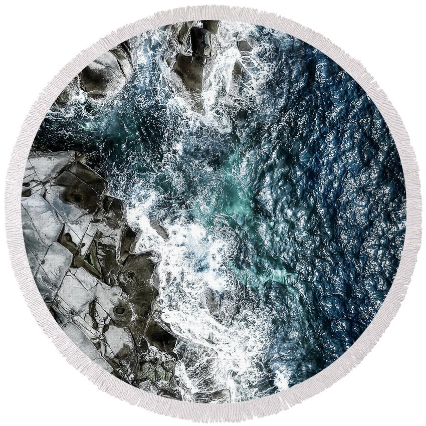 Drone Round Beach Towel featuring the photograph Skagerrak Coastline - Aerial Photography by Nicklas Gustafsson