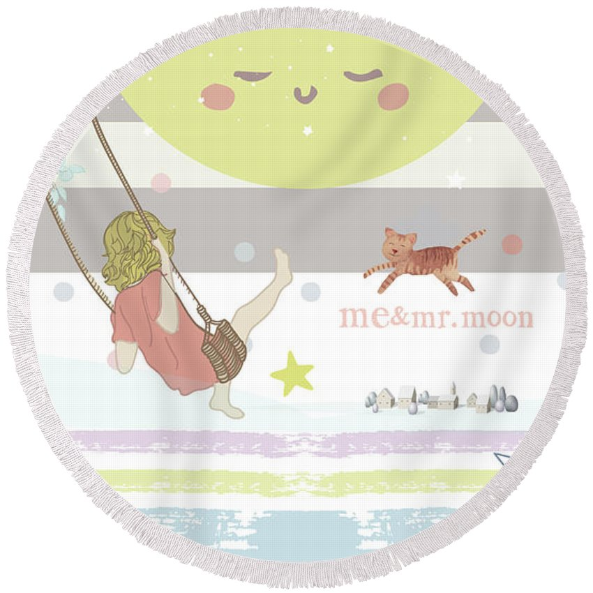Round Beach Towel featuring the digital art Me And Mr. Moon by Claire Tingen