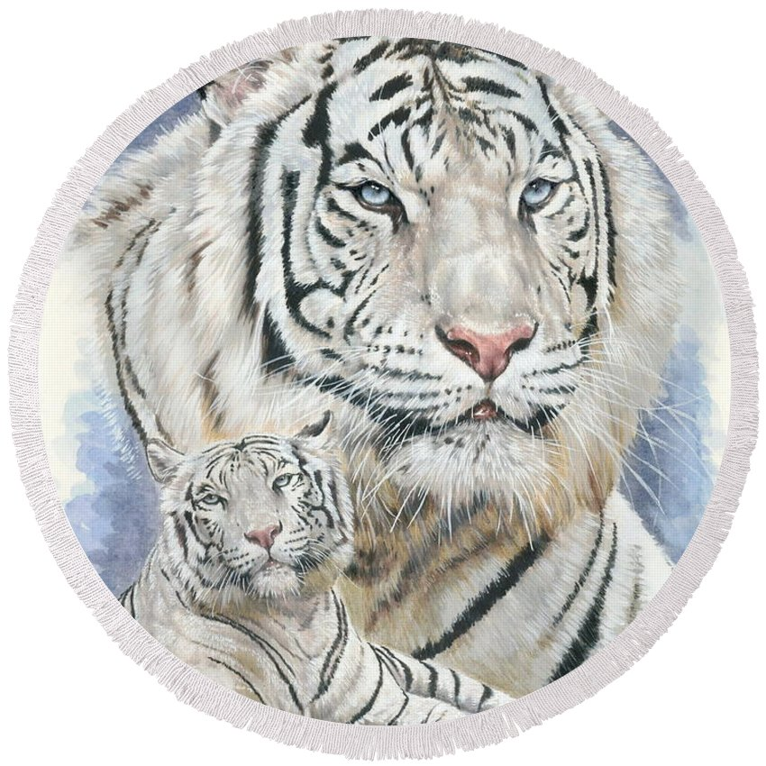 Big Cat Round Beach Towel featuring the mixed media Dignity by Barbara Keith