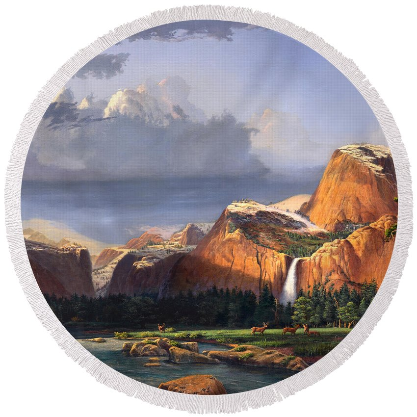 American Round Beach Towel featuring the painting Deer Meadow Mountains Western Stream Deer Waterfall Landscape Oil Painting Stormy Sky Snow Scene by Walt Curlee