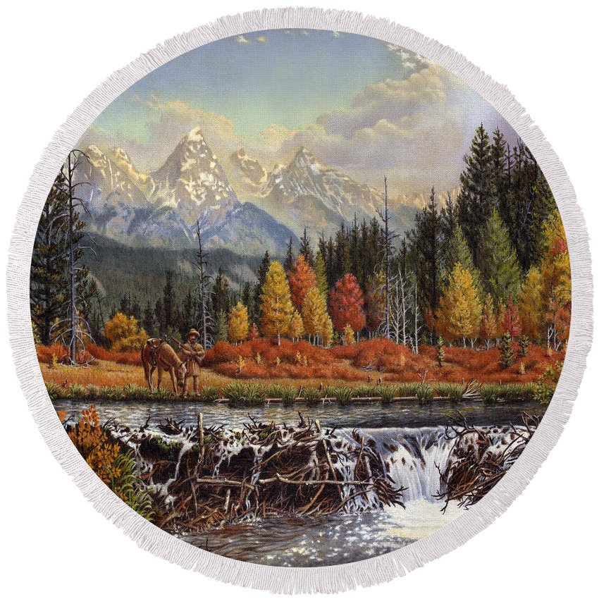 Western Mountain Landscape Round Beach Towel featuring the painting Western Mountain Landscape Autumn Mountain Man Trapper Beaver Dam Frontier Americana Oil Painting by Walt Curlee