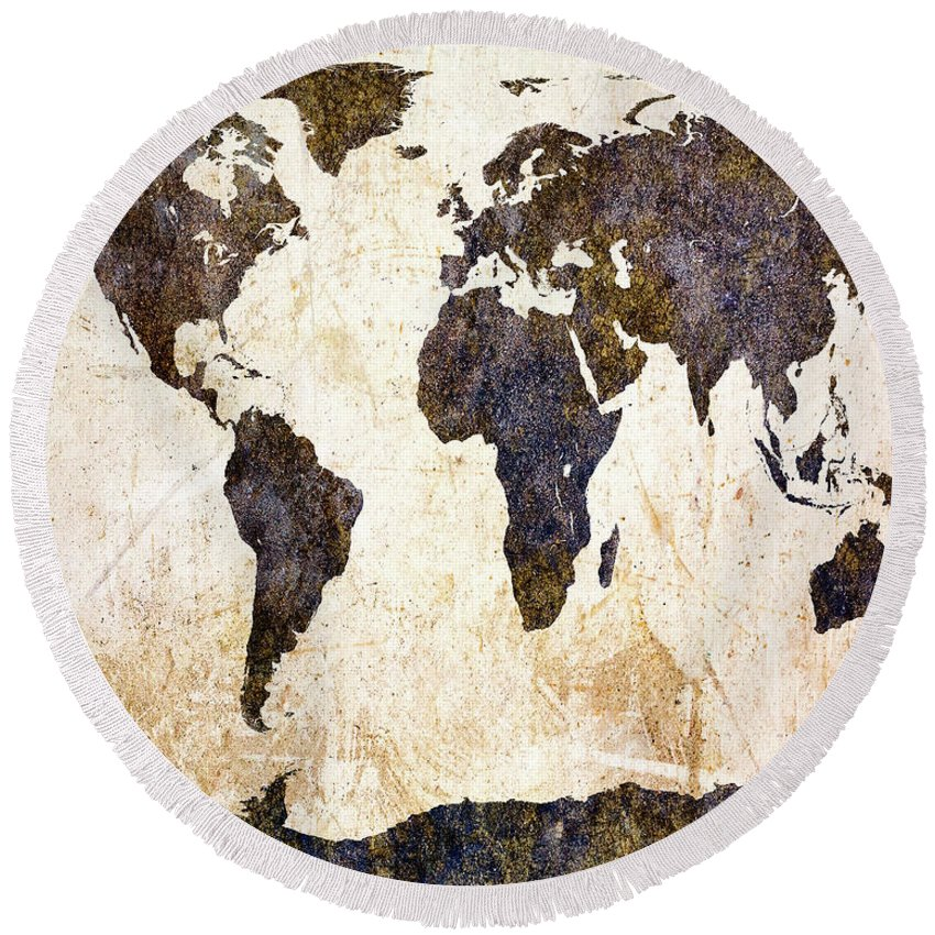 Earth Round Beach Towel featuring the painting World Map Abstract by Bob Orsillo