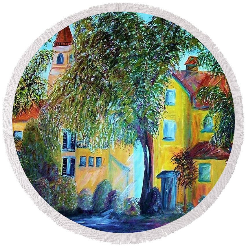 Tuscan Round Beach Towel featuring the painting Morning In Tuscany by Eloise Schneider Mote