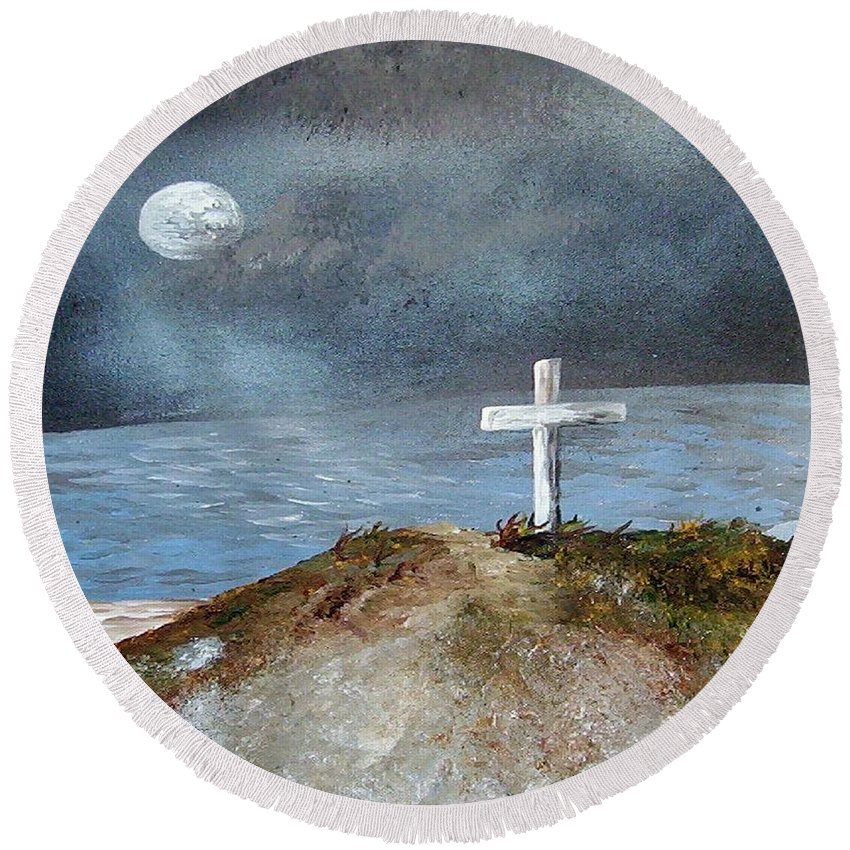 Cross Round Beach Towel featuring the painting Pensacola Beach By The Light Of The Moon by Eloise Schneider Mote