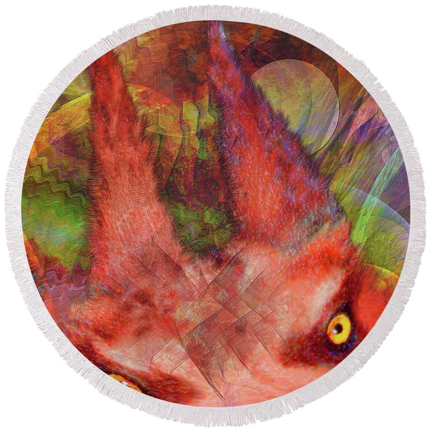 Red Rover Round Beach Towel featuring the digital art Red Rover by John Beck