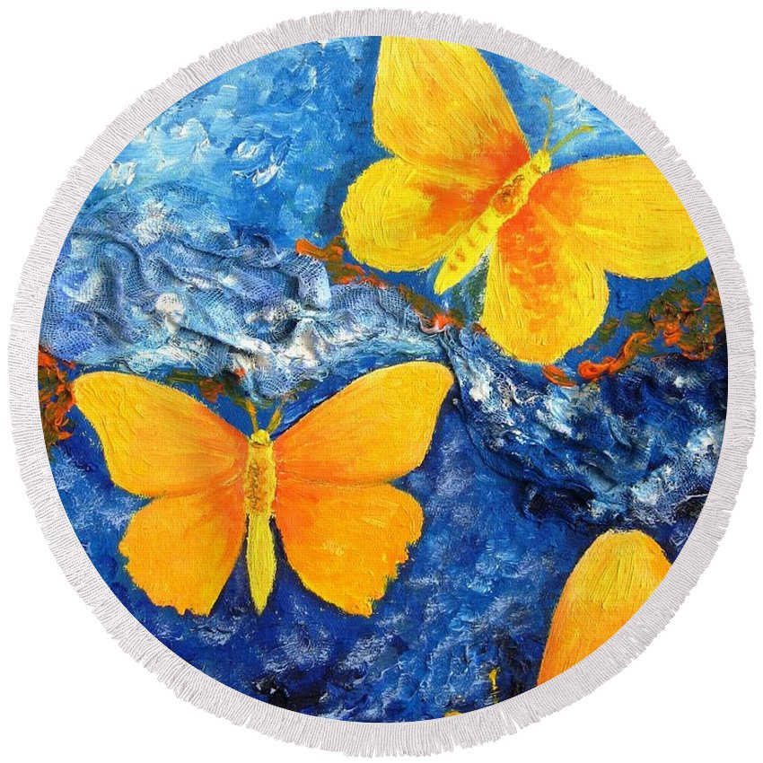 Painting Round Beach Towel featuring the painting Butterfly In Blue 1 by Stella Velka