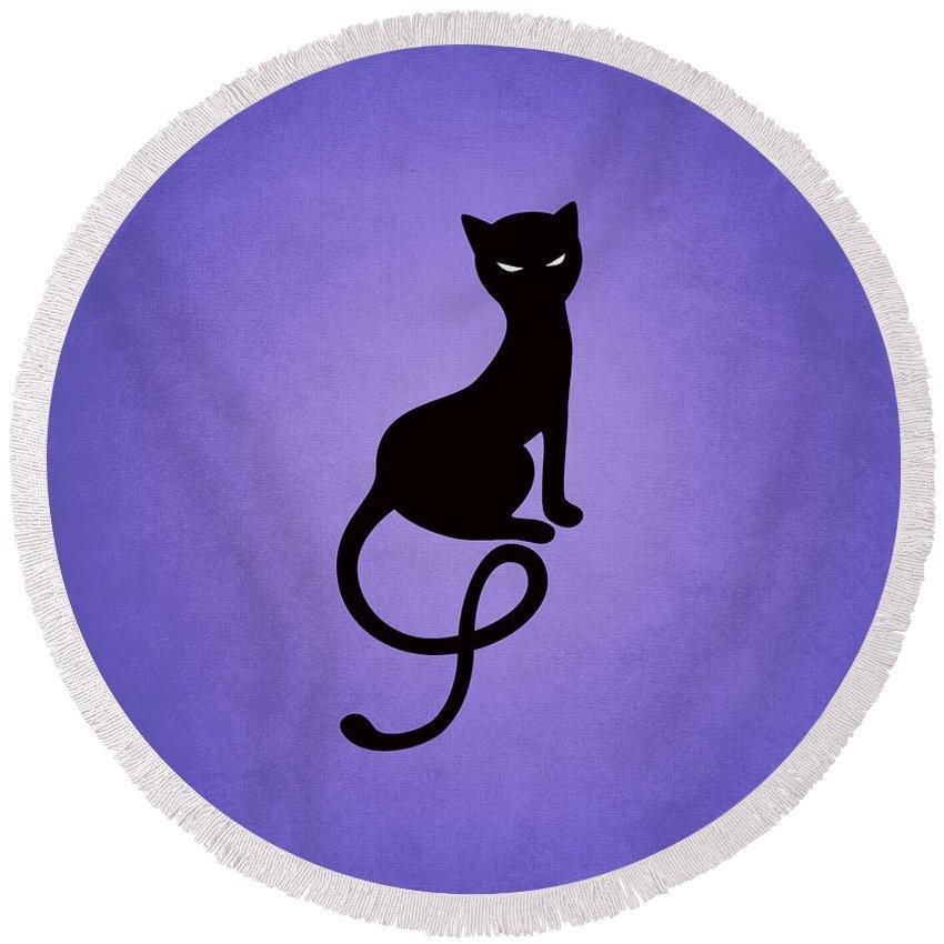 Cats Round Beach Towel featuring the digital art Purple Gracious Evil Black Cat by Boriana Giormova