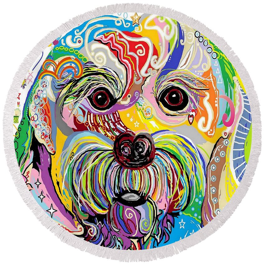 Maltese Round Beach Towel featuring the painting Maltese Puppy by Eloise Schneider Mote