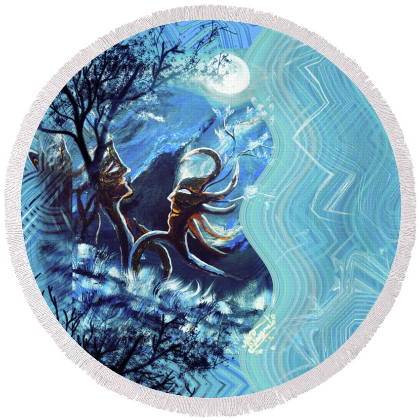 Landscape Round Beach Towel featuring the painting Love For Moon Light by Artist Nandika Dutt