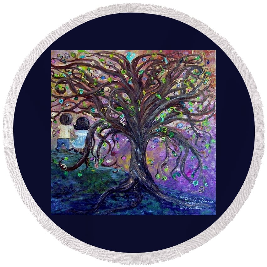Child Round Beach Towel featuring the painting Children Under The Fantasy Tree With Jackie Joyner-kersee by Eloise Schneider Mote