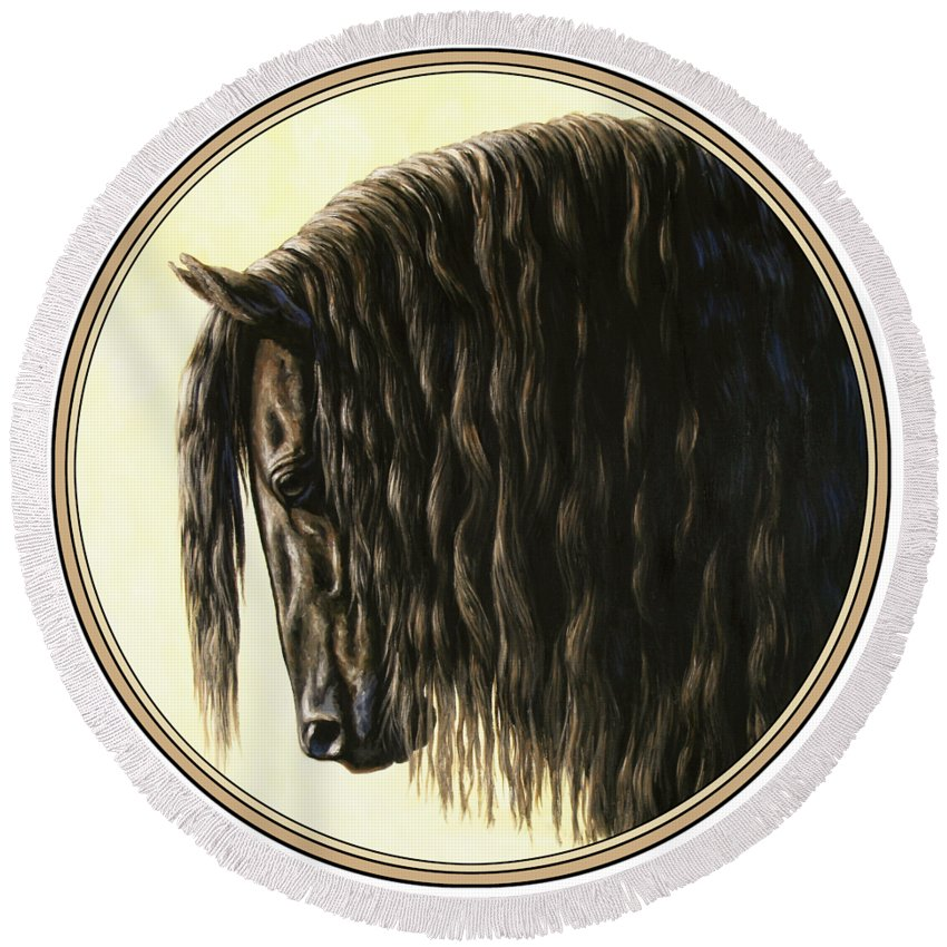 Horse Round Beach Towel featuring the painting Horse Painting - Friesland Nobility by Crista Forest